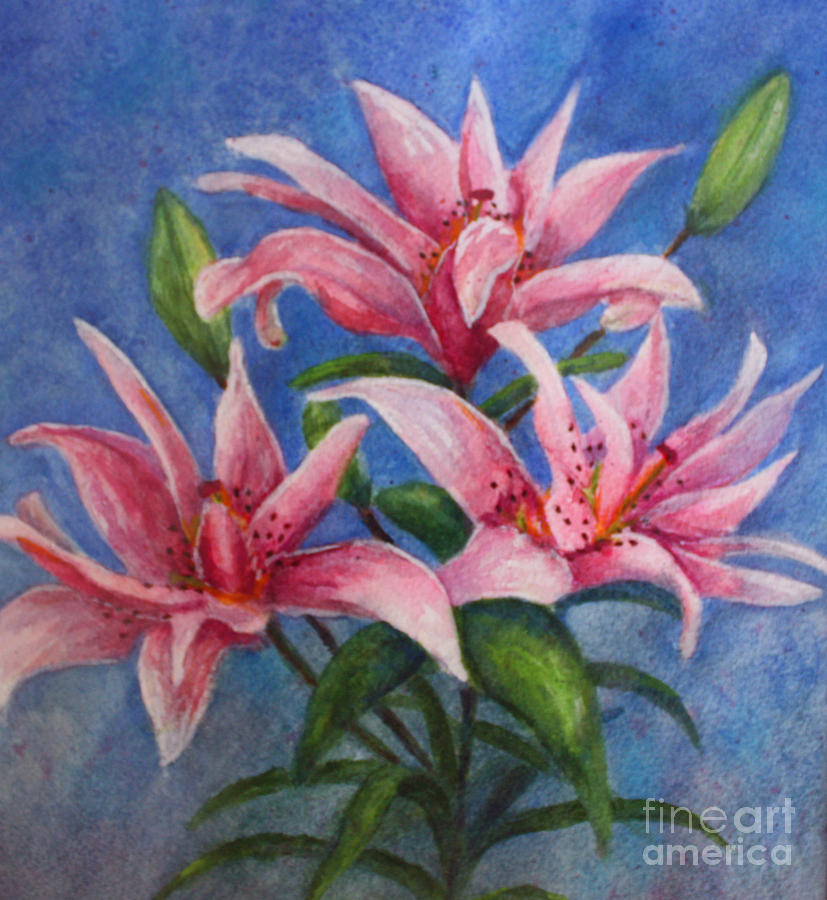 Pink Painting - Pink Lilies by Terri Maddin-Miller
