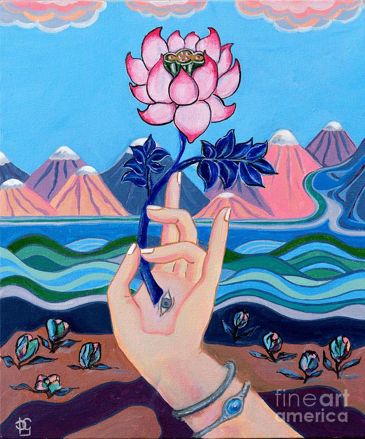 Pink Lotus Mudra Painting By Peta Garnaut