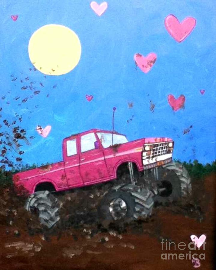 Pink Monster Mud Truck Painting By Amanda Baumgartner