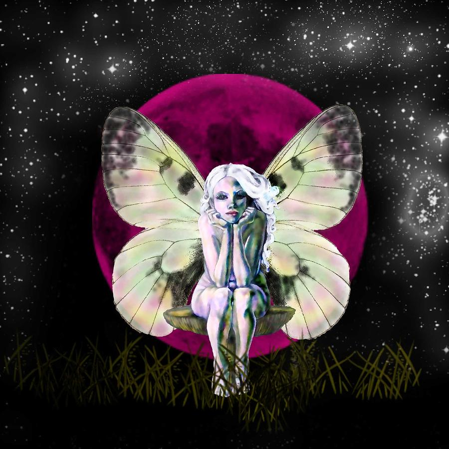 Fairy Drawing - Pink Moon Fairy by Diana Shively