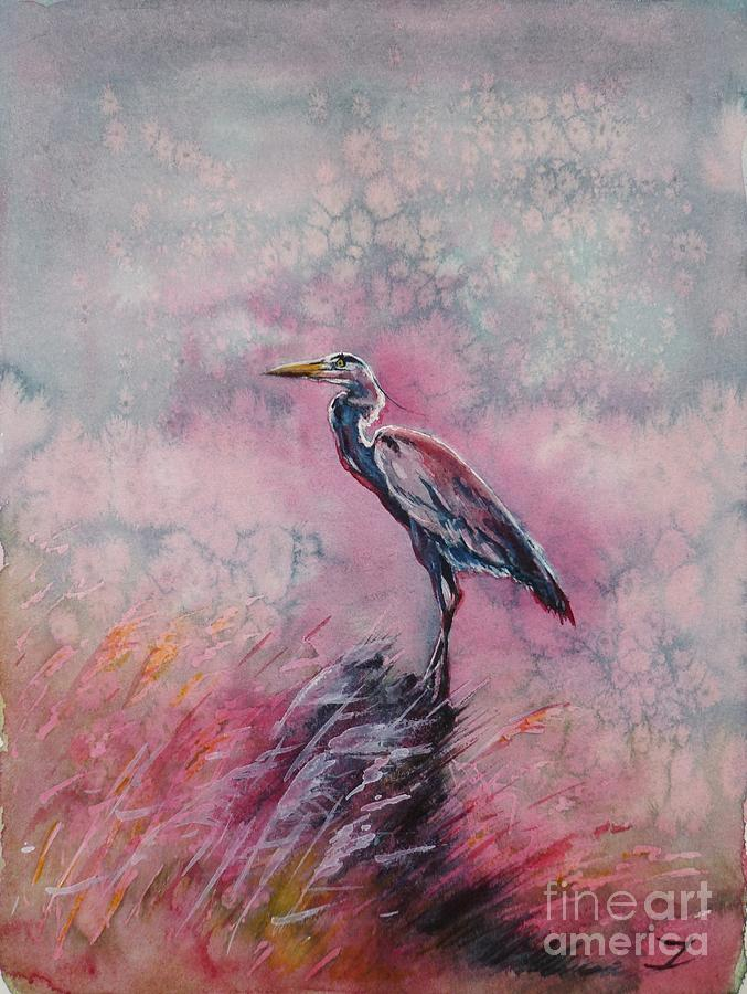 Heron Painting - Pink Morning by Zaira Dzhaubaeva