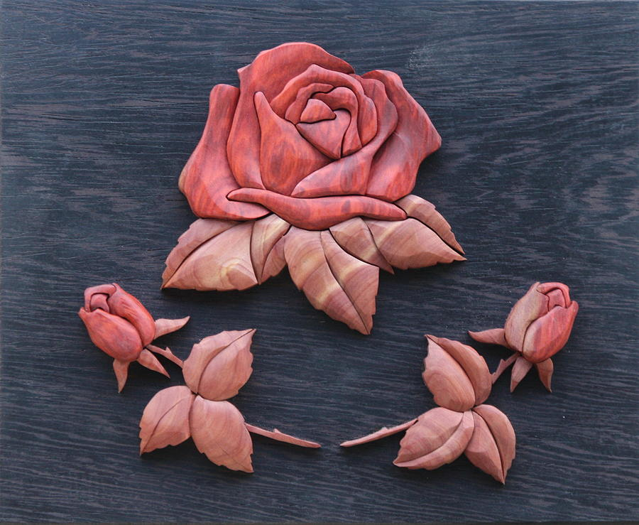 Intarsia Sculpture - Pink My Lady Rose by Bill Fugerer