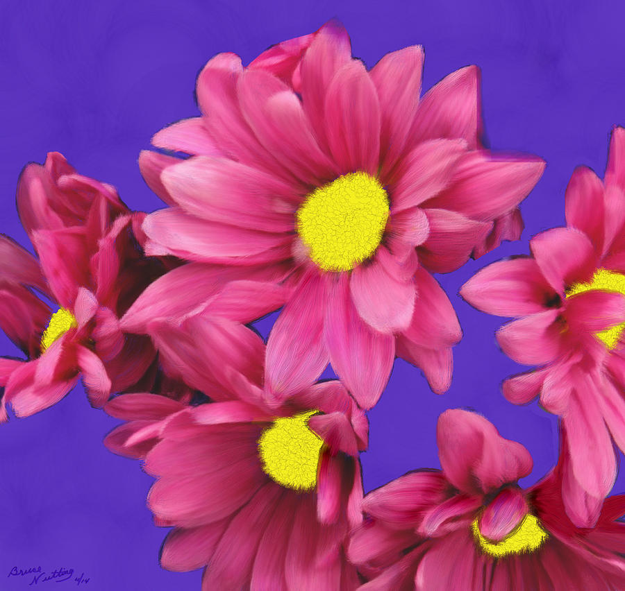 Pink Painting - Pink On Purple by Bruce Nutting
