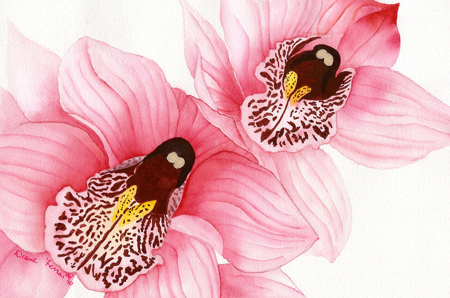 Orchids Painting - Pink Orchids by Diane Ferron