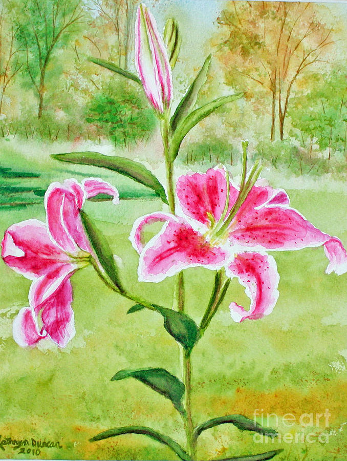Landscape Painting - Pink Oriental Lillies by Kathryn Duncan