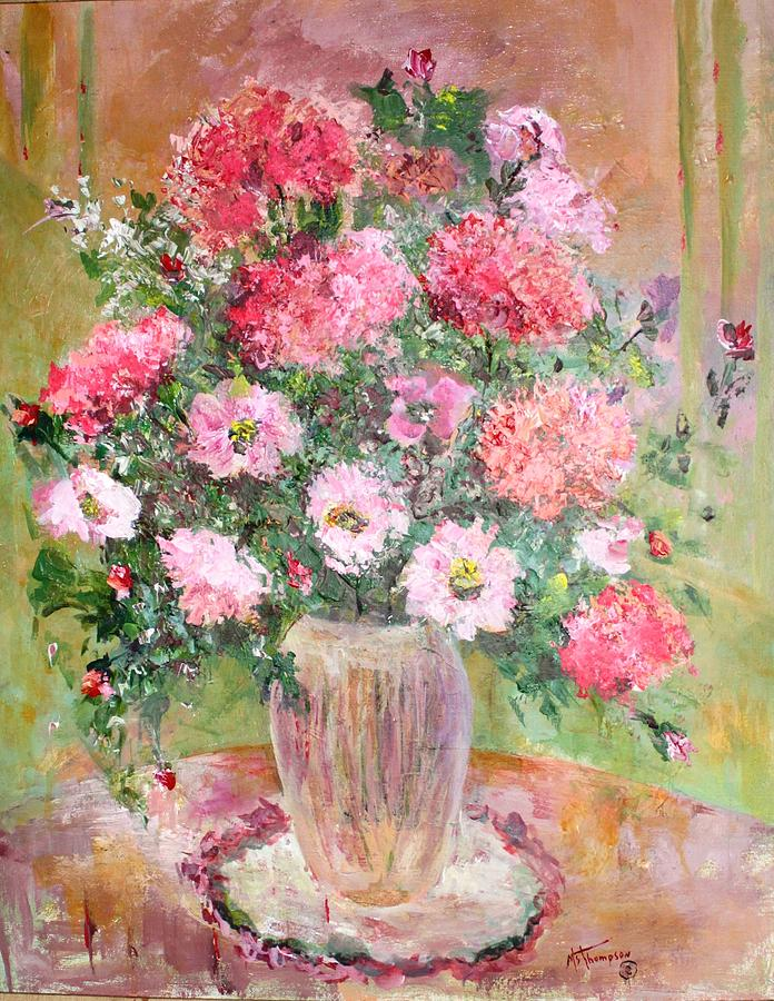 Pink Flowers Painting - Pink Parfait by Mary Spyridon Thompson