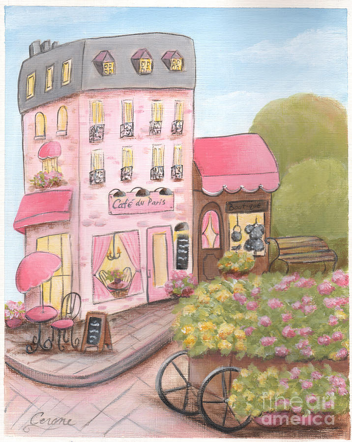 pink paris cafe and boutique painting by debbie cerone. Black Bedroom Furniture Sets. Home Design Ideas
