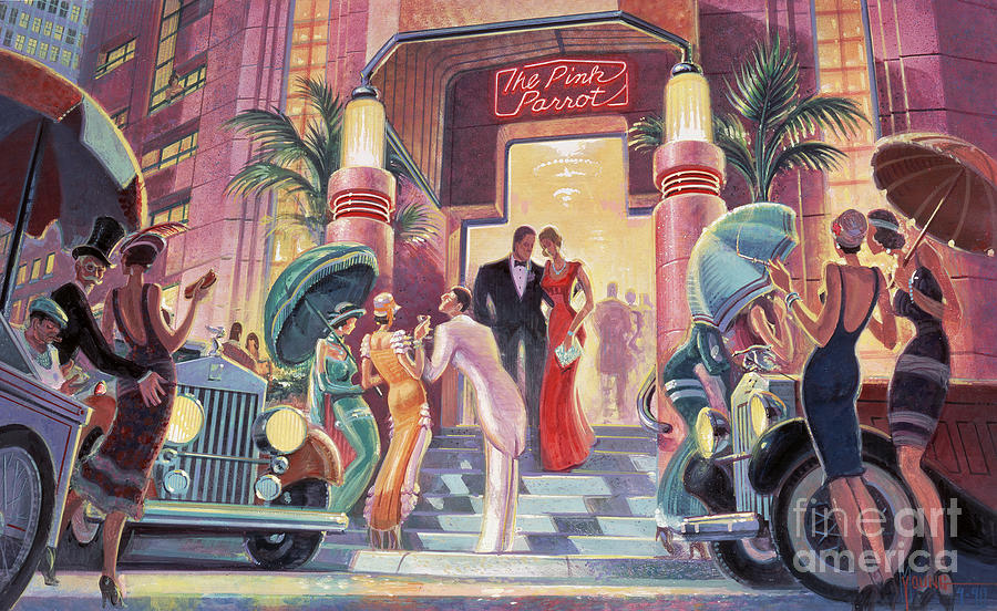 Art Deco Painting - Pink Parrot Club by MGL Meiklejohn Graphics Licensing