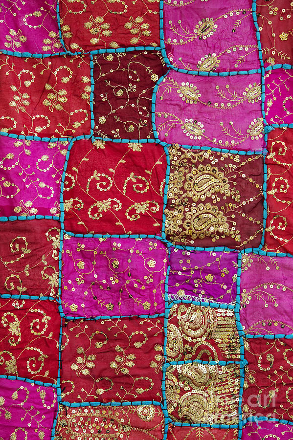 Pink Photograph - Pink Patchwork Indian Wall Hanging by Tim Gainey