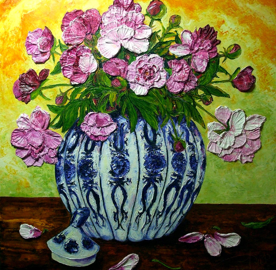 Flowers In A Vase Painting - Pink Peonies In A Vase by Paris Wyatt Llanso