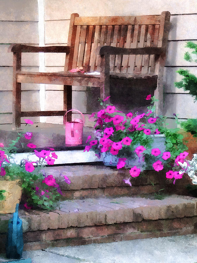 Petunia Photograph - Pink Petunias And Watering Cans by Susan Savad