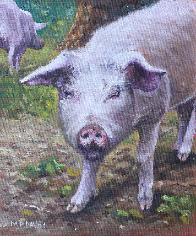 Pig Painting - Pink Pig Portrait by Martin Davey