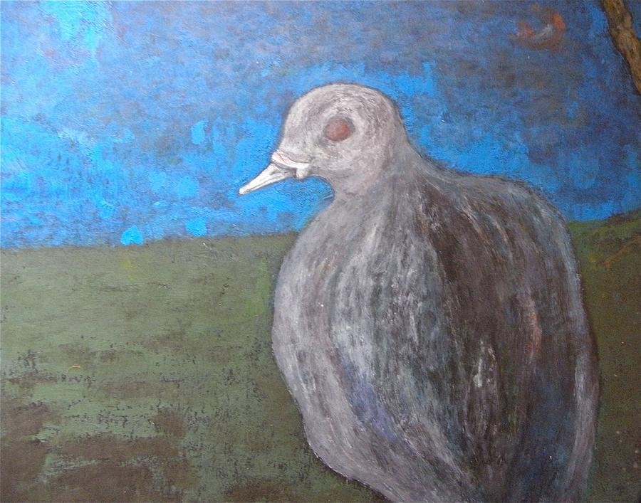 Pigeon Painting - Pink Pigeon In Blue by Artist Geoff Francis