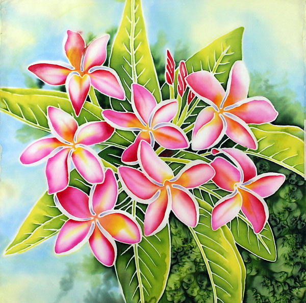 Silk Painting Painting - Pink Plumeria by Nancy Goldman