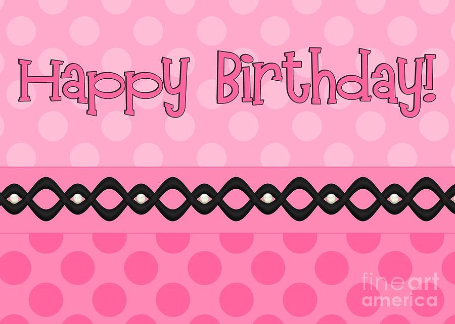 Pink Digital Art - Pink Polka Birthday by JH Designs