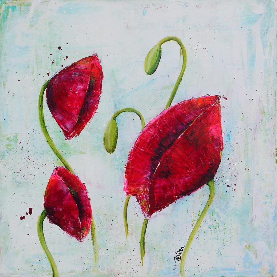 Poppies Painting - Pink Poppies 1 by Bitten Kari