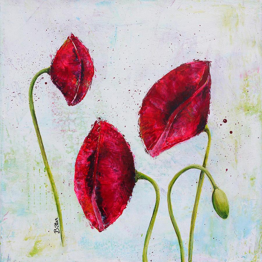 Poppies Painting - Pink Poppies 2 by Bitten Kari