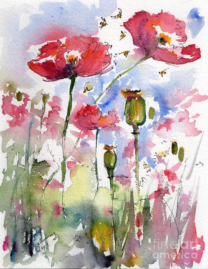 Pink Poppy by SueEllen Cowan |Watercolor Poppies Pink
