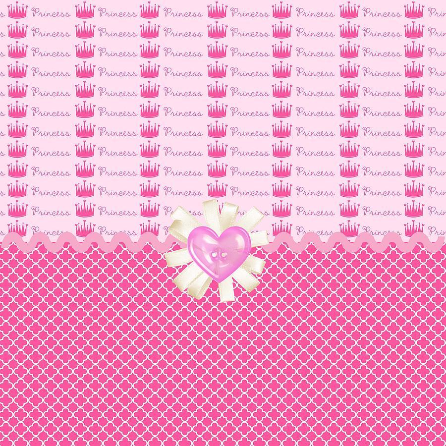 Diamonds Digital Art - Pink Princess Crowns by Debra  Miller