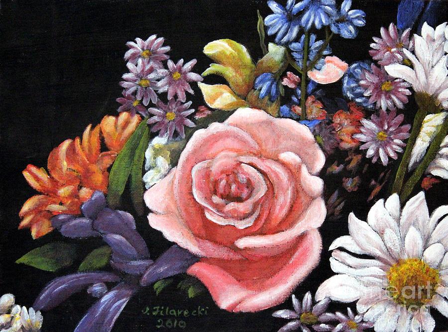 Pink Rose Painting - Pink Rose Floral Painting by Judy Filarecki