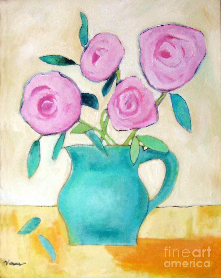 Still Life Painting - Pink Roses In A Green Vase by Venus