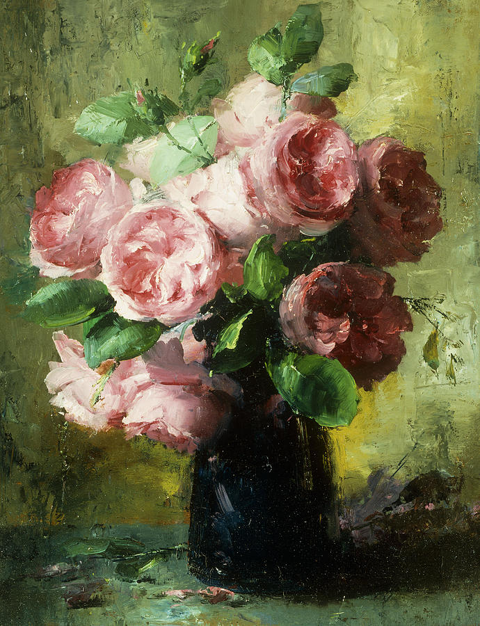 Pink Roses In A Vase Painting By Frans Mortelmans