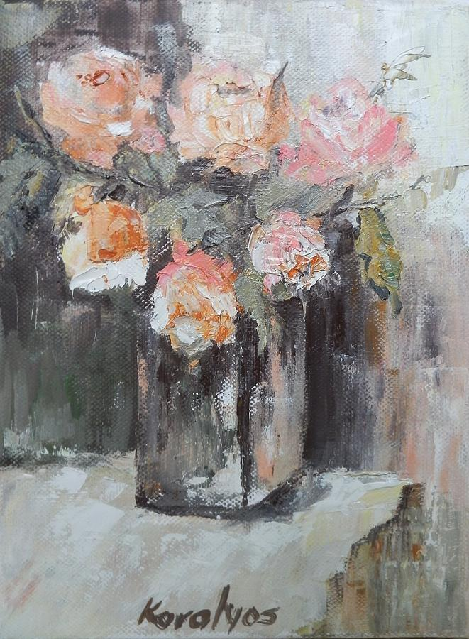 Roses Painting - Pink Roses In A Vase by Maria Karalyos