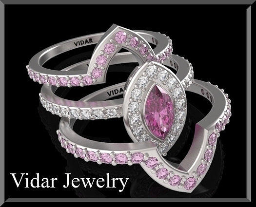 Gemstone Jewelry - Pink Sapphire And Diamond 14k Wedding Ring And Engagement Ring Set by Roi Avidar