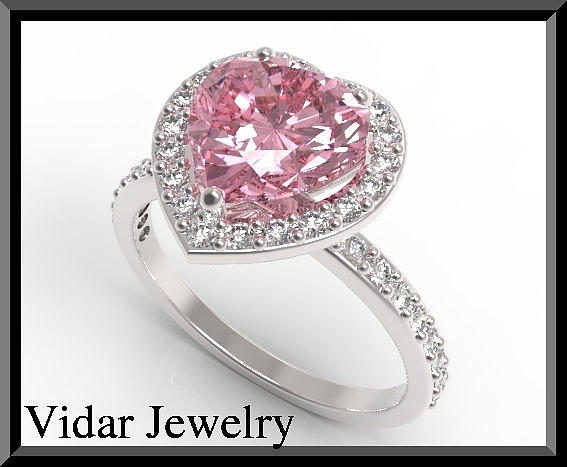 Gemstone Jewelry - Pink Sapphire And Diamond 14k White Gold Heart Engagement Ring by Roi Avidar
