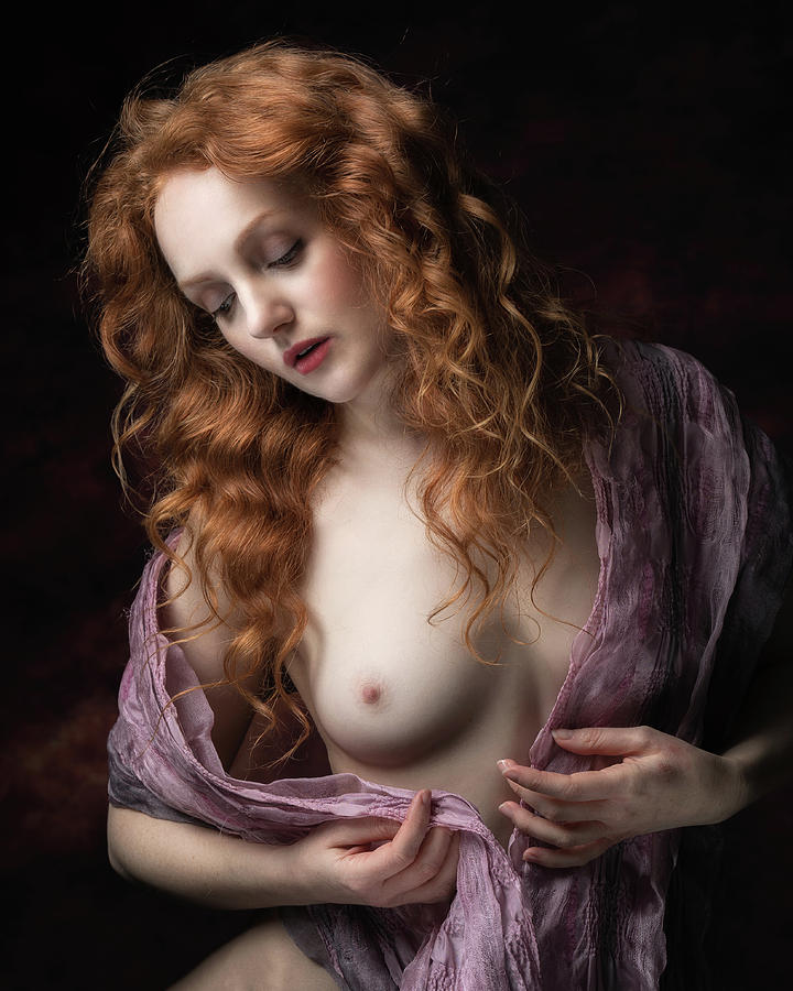 Ginger Photograph - Pink Scarf by Jan Slotboom
