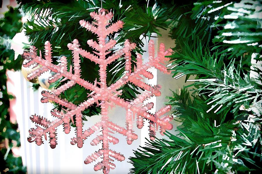 Christmas Photograph - Pink Snowflake by Audreen Gieger-Hawkins
