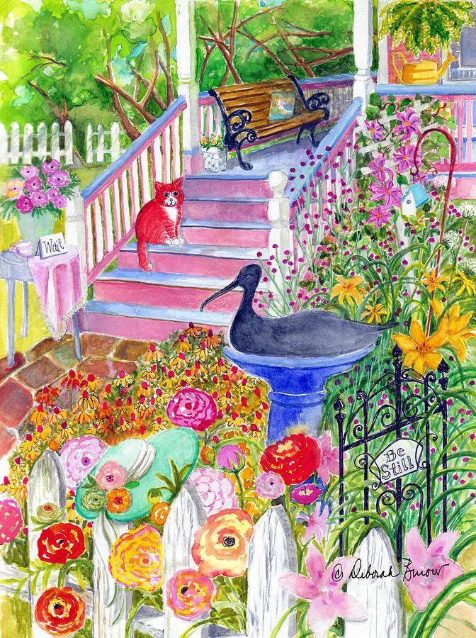 Cat Painting - Pink Stairs by Deborah Burow