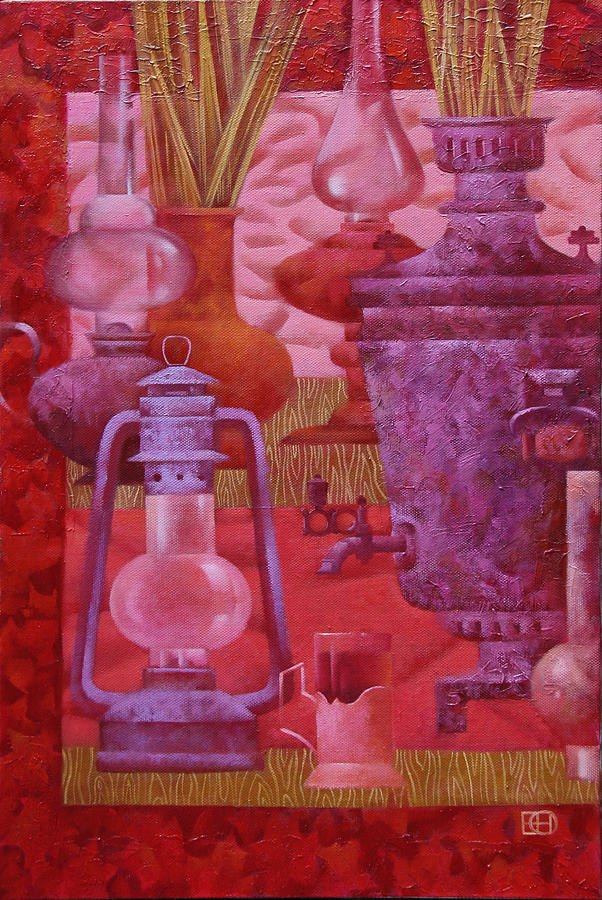 Russian Samovar Painting - Pink Still Life by Nadia Egorova