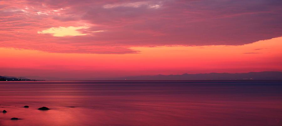 Aegean Photograph - Pink Sunrise  by Leyla Ismet