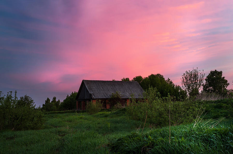 Landscape Photograph - Pink Sunrise. Old Barn by Jenny Rainbow