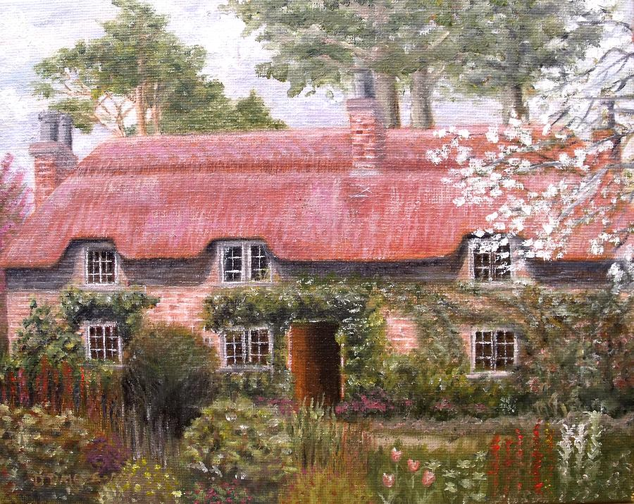 Thatched Cottage Painting - Pink Thatched Cottage by Diane Daigle