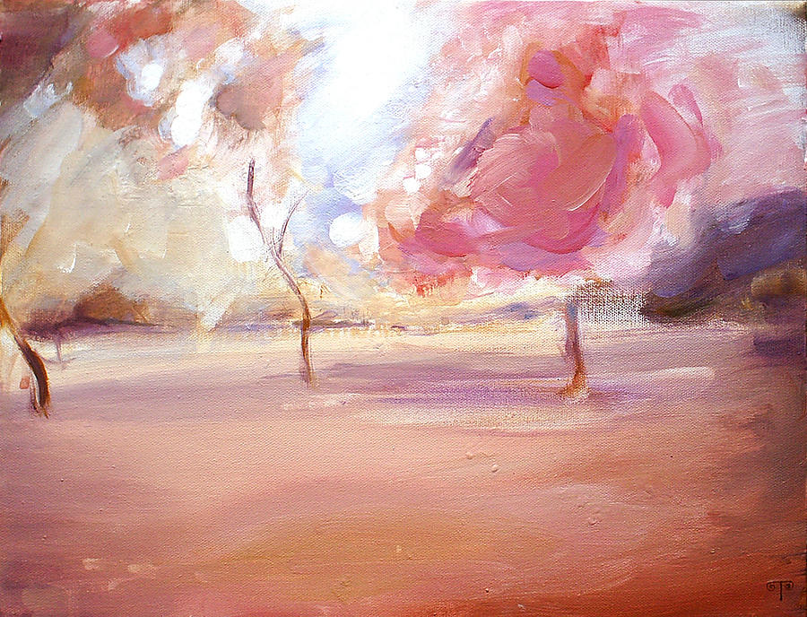 Landscape Painting - Pink Trees by Tanya Byrd