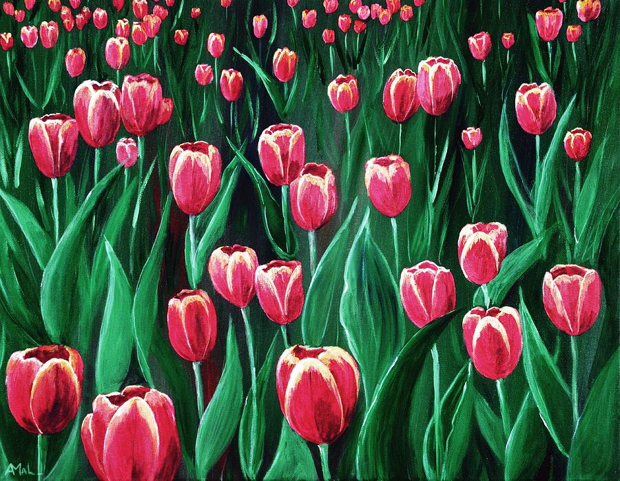 Decorative Painting - Pink Tulip Field by Anastasiya Malakhova