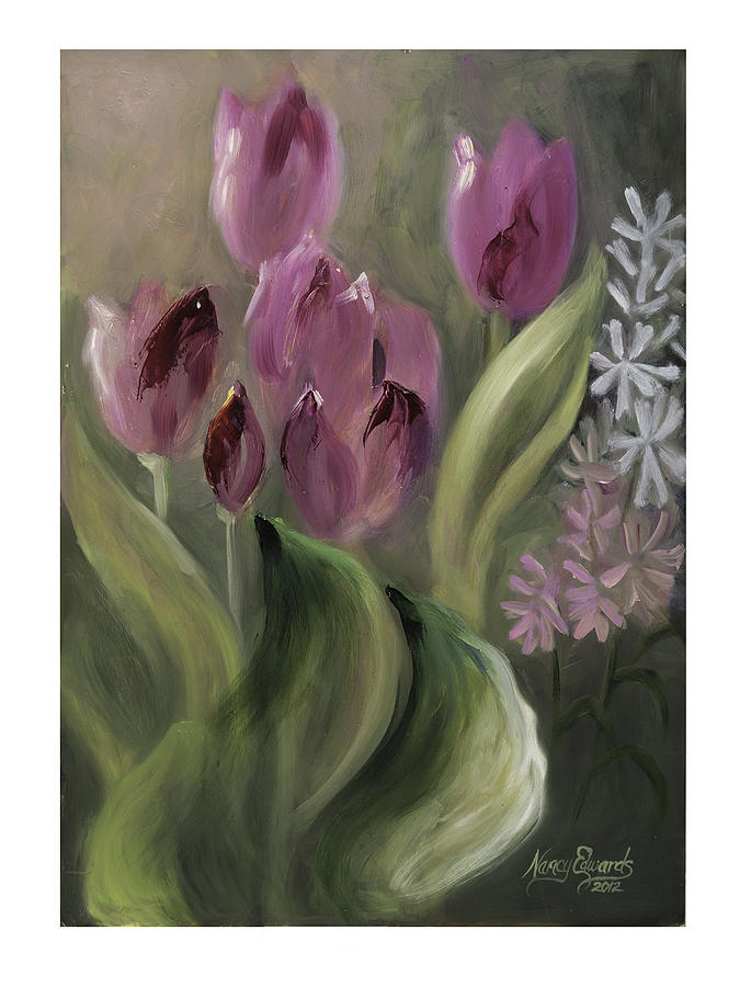 Flower Painting - Pink Tulips by Nancy Edwards