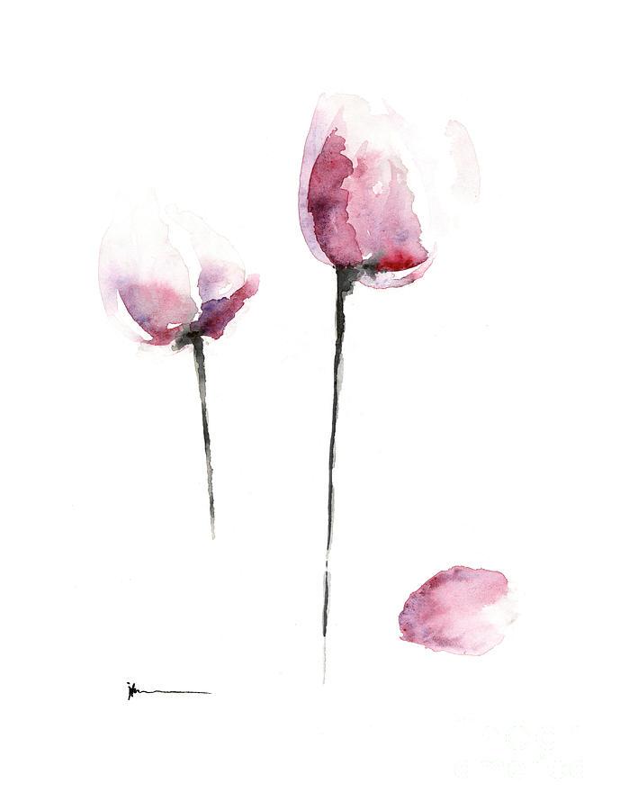 Tulips Painting - Pink tulips watercolor art print painting by Joanna Szmerdt