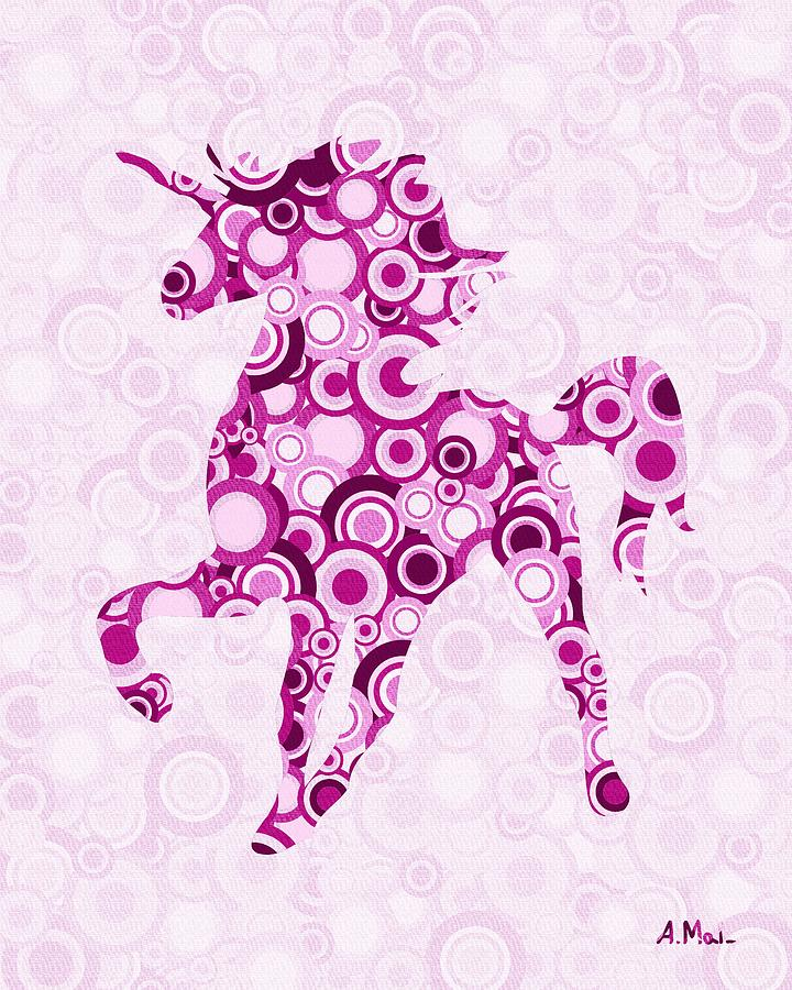 Interior Digital Art - Pink Unicorn - Animal Art by Anastasiya Malakhova