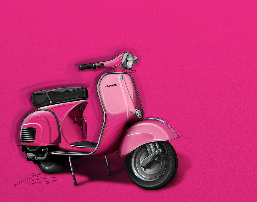 Vespa Digital Art - Pink Vespa by Etienne Carignan
