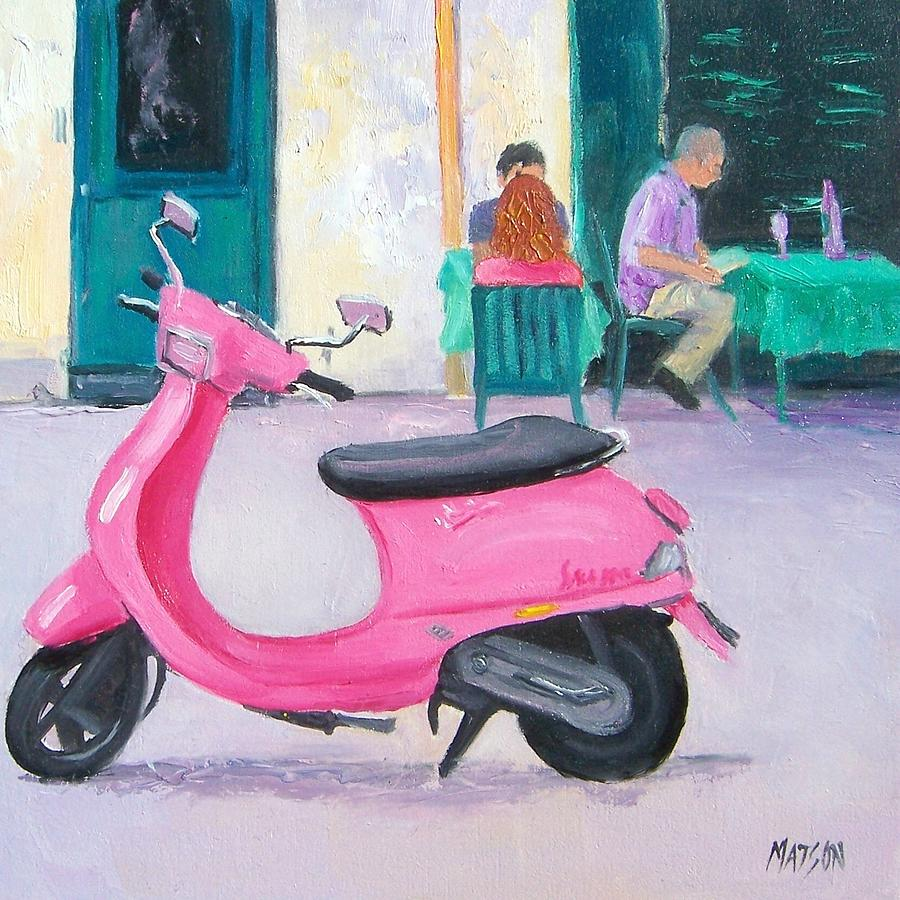 Vespa Painting - Pink Vespa by Jan Matson