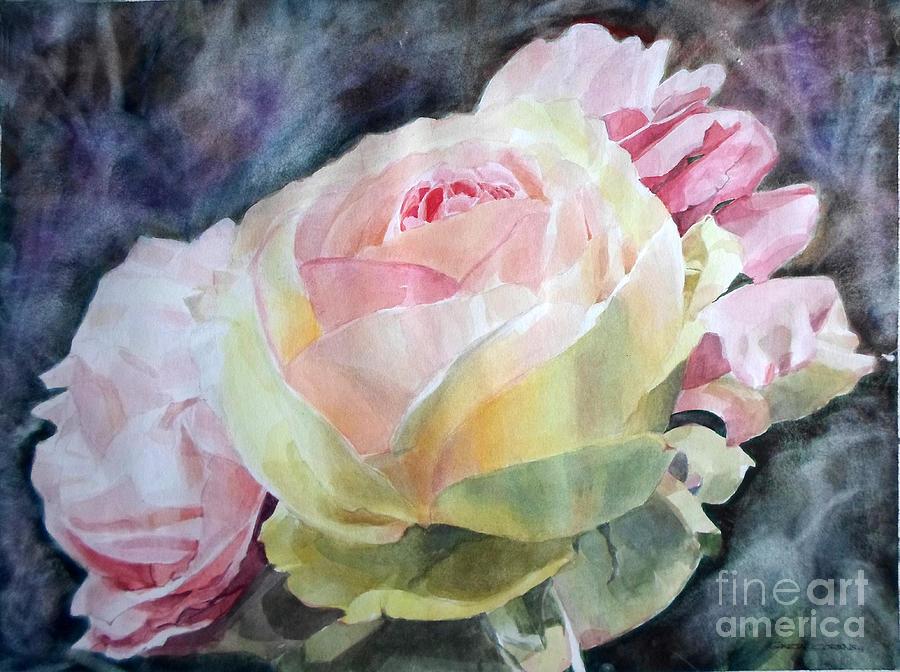 Pink Yellow Rose Angela Painting