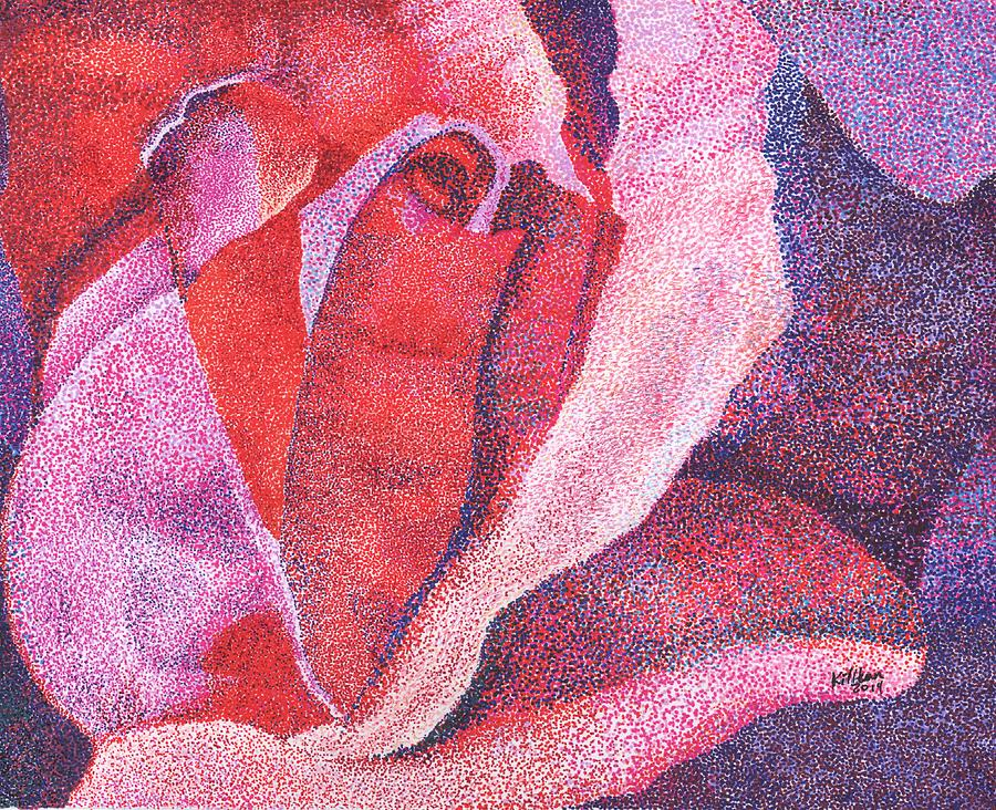 Pointillist Painting - Pinkrose#5-2 by William Killen