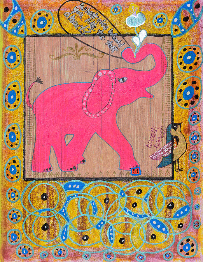 Pink Elephant Mixed Media - Pinky by Donna Blackhall