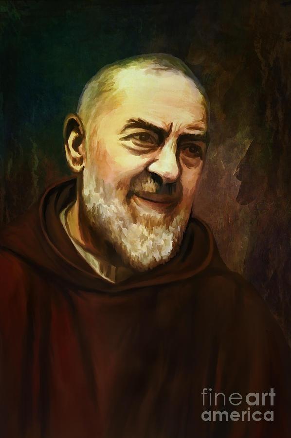 Stigmata Painting - Pio Of Pietrelcina by Andrzej Szczerski