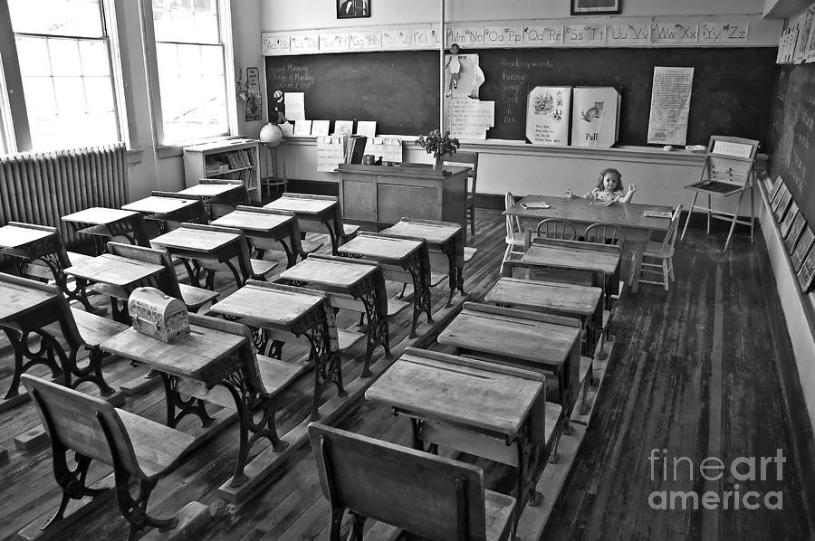 Classroom Decor Black And White ~ Pioneer classroom black and white photograph by valerie garner