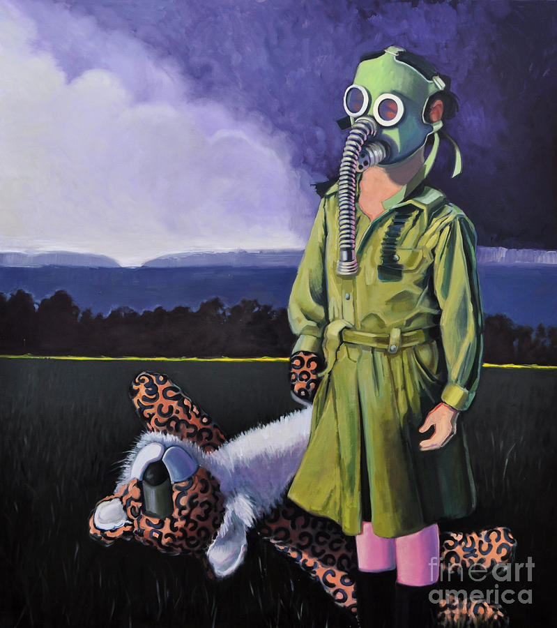 Gas Mask Painting - Pioneer by Linda Guenste