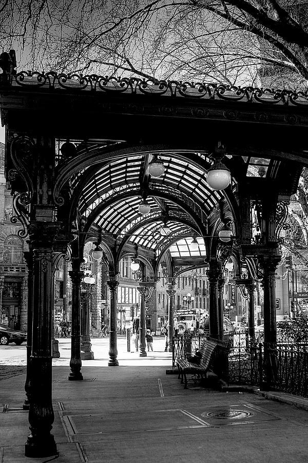 Black And White Photograph - Pioneer Square Pergola by David Patterson